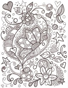 Doodle Flowers For Coloring