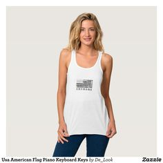 """Usa American Flag Piano Keyboard Keys Tank Top - Fashionable Women's Tank Tops By Creative Talented Graphic Designers - #tanktop #fashion #apparel #clothes #clothing #design #designer #fashiondesigner #style #trends #bargain #sale #shopping - Women's Slim Fit Racerback Tank Top is made from the softest material and perfect as a first or bottom layer or your only layer on warm days! - Best of all it's one of our most affordable tank tops! - Size & Fit Information - Model is 5'8"""" and wearing a…"""