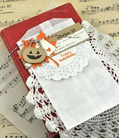 love the doily and the tags on this cute glassine bag