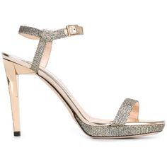 Jimmy Choo 'Claudette 120' sandals (£685) ❤ liked on Polyvore featuring shoes, sandals, grey, stilettos shoes, grey shoes, high heel stilettos, metallic leather sandals and glitter sandals
