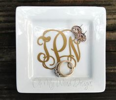 Petite Monogram Jewelry Dish by OhMyWordDesigns