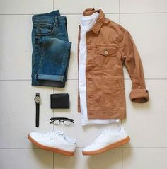 Are you wondering how to wear white sneakers for men or how to look sharp in simple jeans and casual shirt outfits? Then this 30 coolest casual street style looks is just the perfect guide you need to help you look AMAZING! Casual Wear, Casual Outfits, Men Casual, Mode Outfits, Fashion Outfits, Fashion Trends, Der Gentleman, Outfit Grid, Mode Style