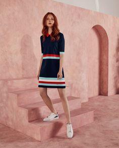Colour-block knitted dress - Dark Blue | Dresses | Ted Baker