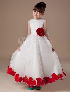 White Sleeveless Satin Organza Flower Girl Dress