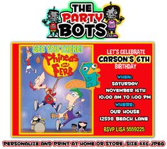 Personalized Birthday Invitations - Phineas and Ferb on Etsy, $10.00
