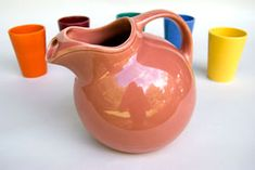 THE CLASSIC BALL JUG : Rose colored Harlequin Vintage 22 ounce Milk Pitcher Jug. Circa 1940-1959