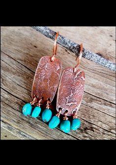 Copper and turquoise dangle earrings. AJ's Western Wear