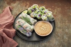 Prawn Rice Paper Rolls with Peanut Dressing — Farm to Fork Prawn Recipes, Fish Recipes, Salsa Gravy, Banana Fritters, Peanut Dipping Sauces, Rice Paper Rolls, Peanut Dressing, Vermicelli Noodles