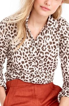 Free shipping and returns on J.Crew Perfect Leopard Print Linen & Coton Shirt at Nordstrom.com. The perennial favorite Perfect shirt features precisely placed darts for a slimming, waist-defining fit that's a bit more tailored than the J.Crew Boy shirt. This one is made from crisp linen-and-cotton with a watercolor-inspired leopard print for a...wild take.