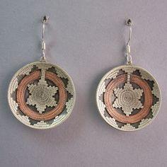Earrings - Sterling Silver & Copper, Wedding Basket, Dangle by Roland Begay (Navajo)