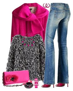 """Hot Pink Jacket for Fall!"" by autumnwolf1965 ❤ liked on Polyvore featuring Cesare Paciotti, J.Crew, GUESS, Juicy Couture, Danielle Stevens, NOVICA and Appetime"