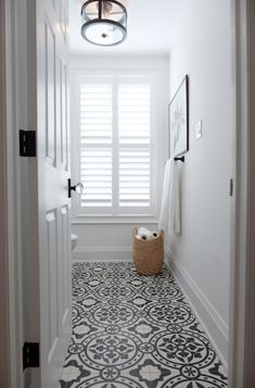 Cement Tile Shop has beautiful in stock Bristol pattern handmade encaustic cement tile ready to ship. Property Brothers, How To Install Wallpaper, Tile Wallpaper, Sofa End Tables, Bathroom Floor Tiles, Bathroom Black, Wood Sofa, Minimalist Bathroom, Bathroom Interior