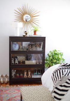 Design*Sponge - sunburst mirror over barrister bookcase now used for shoe storage <3 the blue & white ginger jar Dream Bedroom, Master Bedroom, Bedroom Decor, Barrister Bookcase, Interior Design, Living Room, Inspiration, Shoe Caddy, Shoe Storage
