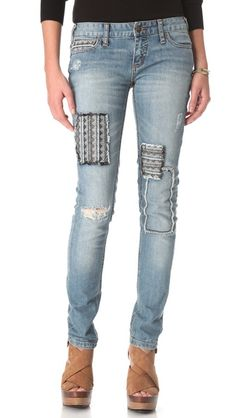 Free People Patched Skinny Jeans (indeed)