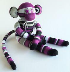 Sock Monkey-Striped-Purple, White, Black, Grey-Handmade-Monkey-Plush-Cuddly *one of a kind* by MissysMonkeys on Etsy