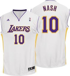 80a47742a Steve Nash Jersey  adidas Revolution 30 White Replica   10 Los Angeles Lakers  Jersey