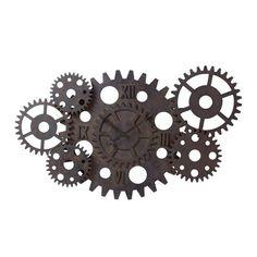 Horloge indus à rouages en bois effet rouille D 125 cm PRINCETON