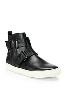 Pierre Hardy - Leather High-Top Buckle Sneakers