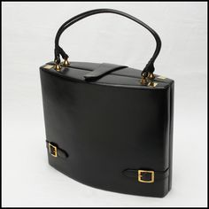 Retro vintage black leather Rosenfeld sculptured box bag