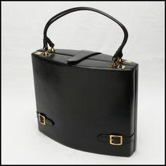 Retro vintage black leather Rosenfeld sculptured box bag