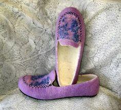 Тапочки-мокасины валяные женские – купить в интернет-магазине на Ярмарке Мастеров с доставкой