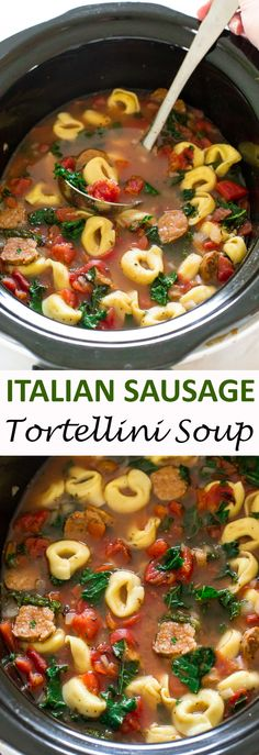Cooker Tortellini Sausage and Kale Soup Slow Cooker Tortellini Sausage and Kale Soup. A super easy and delicious meal that takes only 10 minutes of prep time. Italian Sausage Tortellini Soup, Crock Pot Tortellini, Sausage And Kale Soup, Crock Pot Soup, Slow Cooker Soup, Slow Cooker Recipes, Crockpot Recipes, Cooking Recipes, Tortellini Recipes