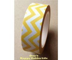 Japanese Washi Masking Tape - Yellow Zig Zag Line - 11 Yards. $3.80, via Etsy.