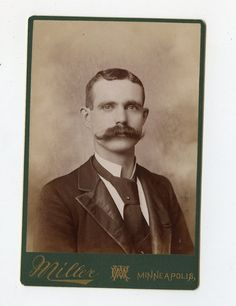 Cabinet Card Vintage Photo Handsome Man Great Mustache Minneapolis MN