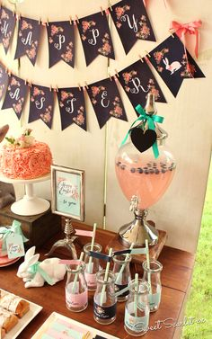 Floral Chalkboard Easter Dessert Table | CatchMyParty.com