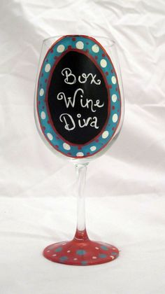 Box Wine Diva Hand painted wine glass by TheSparkleFairies on Etsy