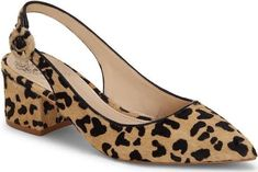 The Leopard-print Slingback Pump from Vince Camuto. Tan Shoes, Leopard Spots, Pointy Toe Flats, Pony Hair, Slingback Pump, 50 Fashion, Women's Pumps, Vince Camuto, Block Heels