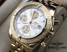 Breitling Chronomat in 18k yellow gold with date Ref: #K13050 #Breitling #Chronomat #Date #Swiss #Wristhot #Luxury #Collector #Watchlink