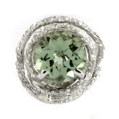 Sterling Silver Green Amethyst Textured Wrap Ring - Fire & Ice #jewelry