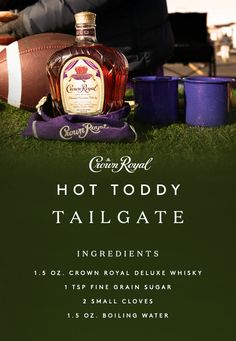 A generous spread on game day should have something for everyone. No matter what's on your football tailgating list, make sure you pick up the smooth flavor of Crown Royal Deluxe whisky. Rich and robust, this blend is an essential part of any celebration. To make our Hot Toddy, simply combine 1.5 oz Crown Royal, 1 tsp fine grain sugar, and 2 cloves in old-fashioned glass or mug. Add 1.5 oz boiling water, stir, and enjoy the big game with friends and family!