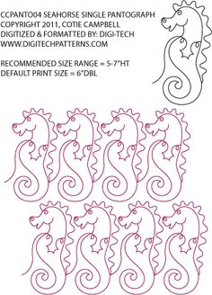 Seahorse Single Pantograph / Border by Cotie Campbell CCPANTO04