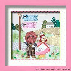 Makes a lovely picture Patch Quilt, Applique Quilts, Embroidery Applique, Quilt Blocks, Paper Embroidery, Machine Embroidery Patterns, Doily Patterns, Dress Patterns, Sue Sunbonnet