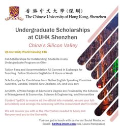 Come Study in China! Awesome opportunities with Full Scholarship for Native English Speakers Undergraduate Scholarships, Study In China, Shenzhen China, Speakers, Student, English, Teaching, Awesome, English Language