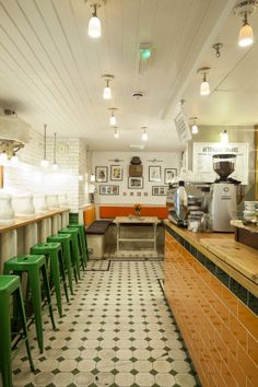 After a two years of planning and renovation, the former #Victorian men's room in the heart of #Fitzrovia #London was converted into coffee shop #Cafeine #Attendant with quirky features. #design