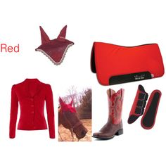 My horse Red has red tack and we always color coordinate. ;)