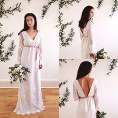 AMANDINE - Backless Boho Bridal Gown - soft champagne matt satin and eyelash lace, bohemian wedding - romantic bridal gown by ThisModernLoveBridal on Etsy https://www.etsy.com/uk/listing/487672352/amandine-backless-boho-bridal-gown-soft