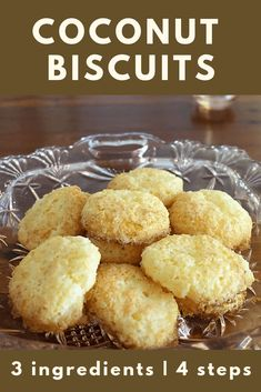 With just 3 ingredients and 4 steps, this coconut biscuits recipe creates the BEST little coconut biscuits ever. Make them now or save for later! Homemade Biscuits Recipe, Coconut Biscuits, Coconut Flour Recipes, Biscuit Recipe, Vanilla Biscuits, Coconut Cookies, Baking Biscuits, Homemade Breads, Bread Baking