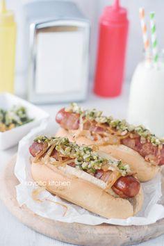 Bacon-Wrapped Hot Dogs & Jalapeño Cucumber Relish
