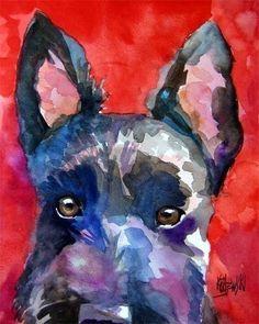Scottish Terrier Art Print of Original Watercolor by dogartstudio, $24.50