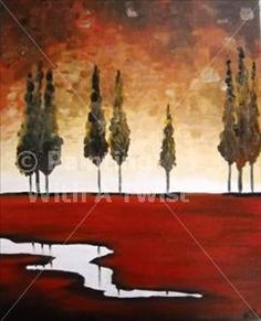 Red Landscape - Fairport Painting Class - Painting with a Twist for community Ed painting class