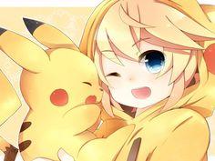 Konnichiwa minna~ How are you? Do you play pokemon Go? I don't play it but I help my friend when we have problems and I prefer pokemon in ds Anime Neko, Kawaii Anime Girl, Manga Kawaii, Loli Kawaii, Anime Girl Cute, Anime Art, Pikachu Pikachu, Cute Cartoon Drawings, Anime Girl Drawings