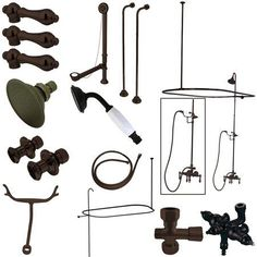 Kingston Brass Vintage Wall Mount Down Spout Clawfoot Tub and Shower Package with Porcelain Lever Handles, Oil Rubbed Bronze