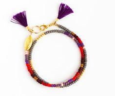 Beaded Wrap Bracelet - Tribal Friendship Bracelet - Tassel Bracelet - Gray Lavender Purple Lilac Burgundy Red Chocolate Tan and Gold
