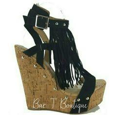 Black Fringe Wedges ~ Follow @bar_t_boutique on Instagram  to Shop weekly New Arrivals
