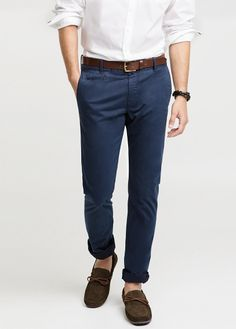 Slim-fit cotton chinos  - He by Mango