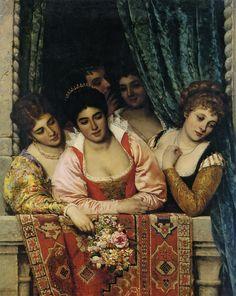 Venetian Ladies on a Balcony by Eugene de Blaas (1843 - 1931)